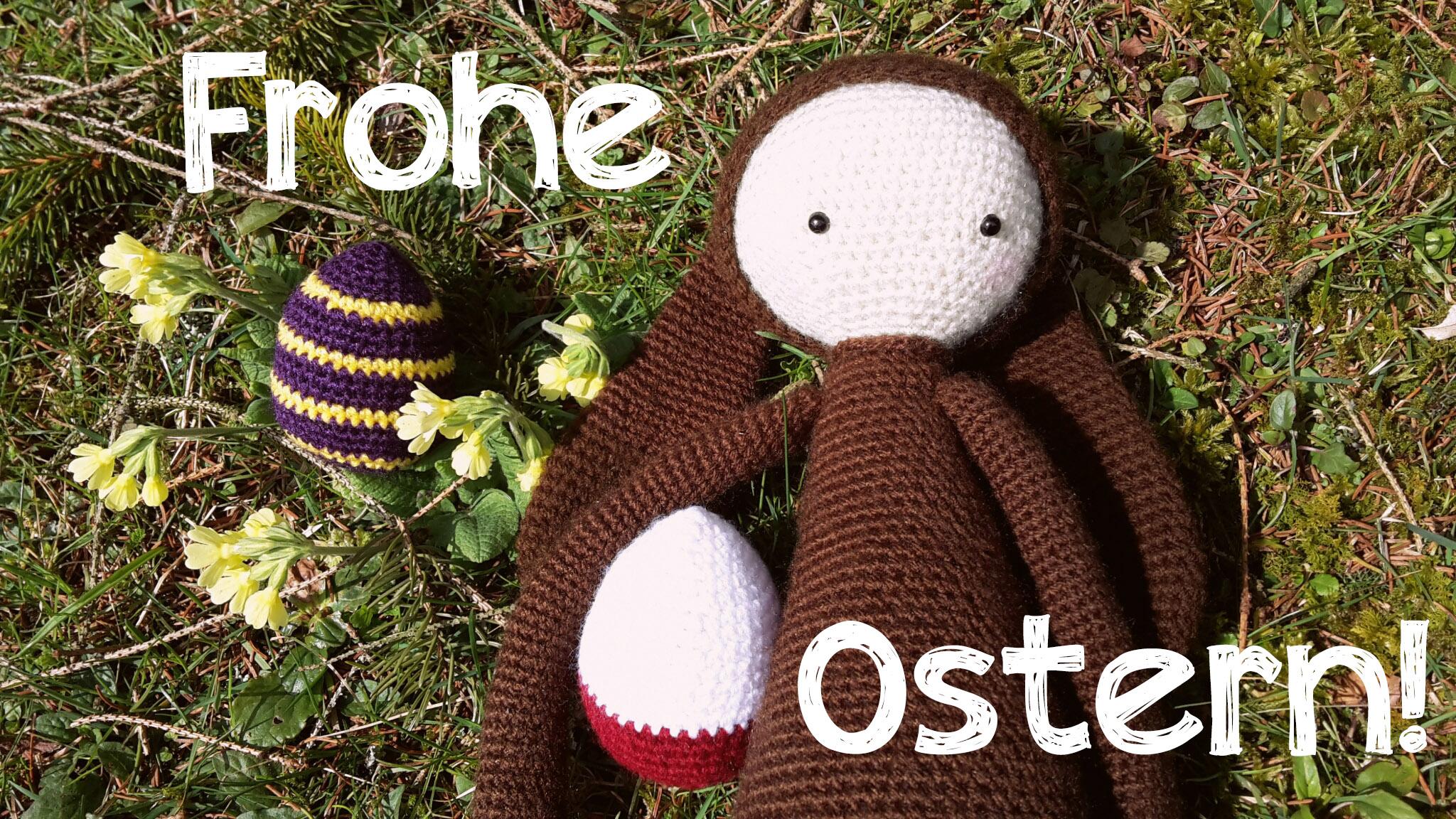 Osterhasi und Ostereier gehäkelt