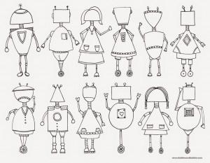 Für Zwischendurch: Robotergesichter malen