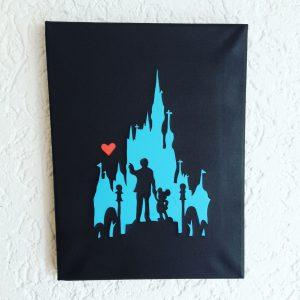Disneyhaftes Schattenbild im Keilrahmen